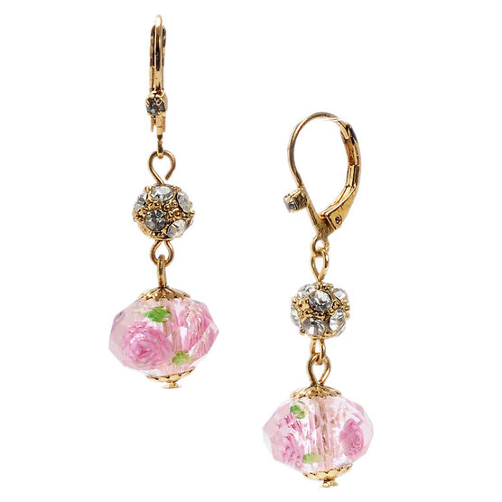 Betsey Johnson Flower Beaded Drop Earrings - Pink