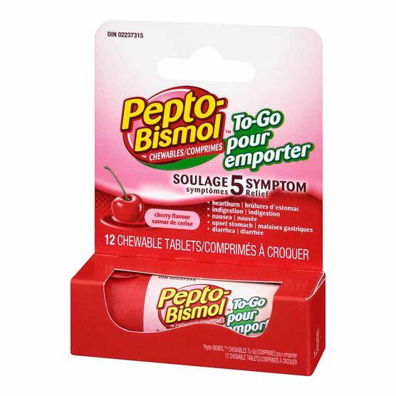 Pepto Bismol Chewable To Go - Cherry - 12's