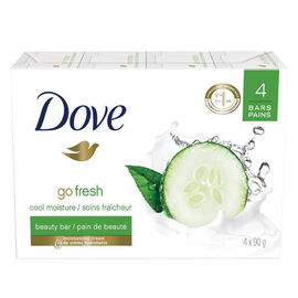 Dove Go Fresh Cool Moisture Beauty Bar - Cucumber & Green Tea Scent - 4 x 90g