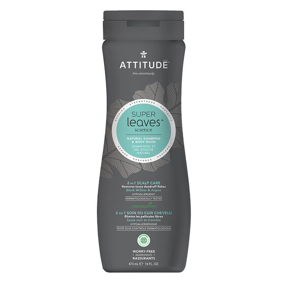 Attitude Super Leaves Science Natural Shampoo & Body Wash - 2 in 1 Natural Scalp Care - 473ml