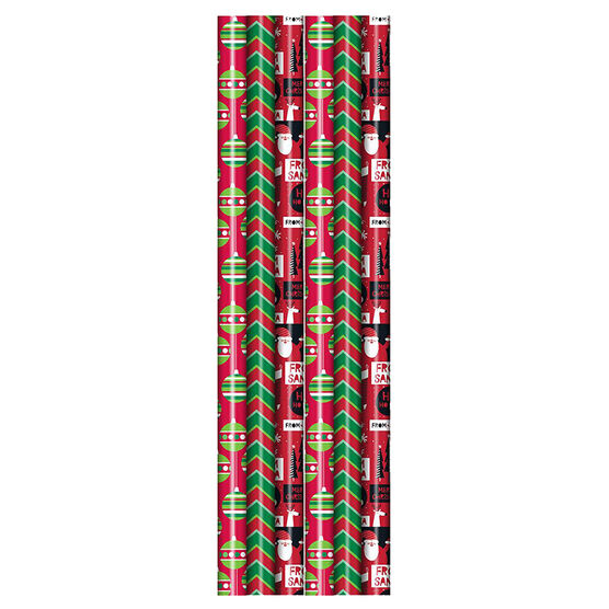 Plus Mark Red and Green Gift Wrap - 30x240in - 083926LDT - Assorted