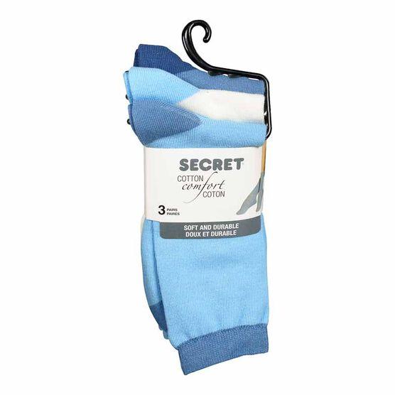 Secret Cotton Comfort Fashion Socks Crew Cut - Blue - 3 pair