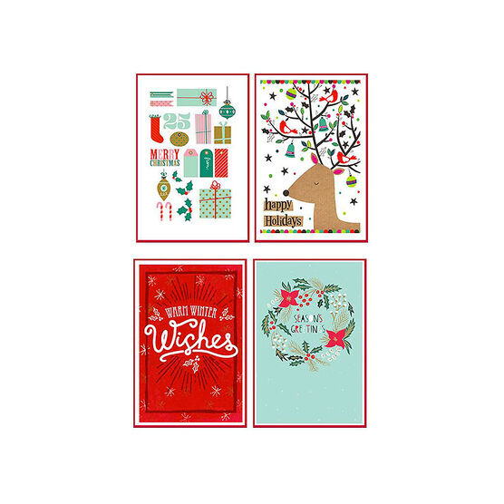 American Greetings Deluxe Christmas Cards - Whimsy with Red - 14 count - Assorted
