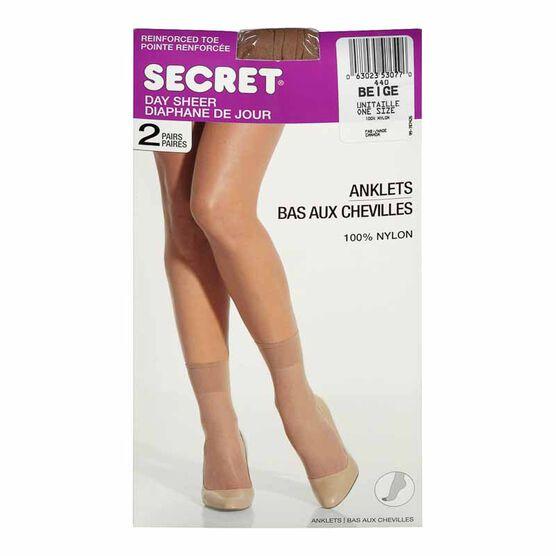Secret Day Sheer Anklets - Beige - 2 pair