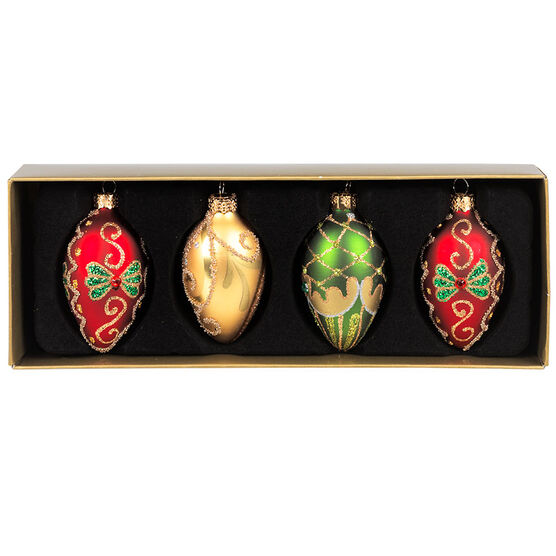 Winter Wishes Glass Egg Ornaments - 57mm - Set of 4