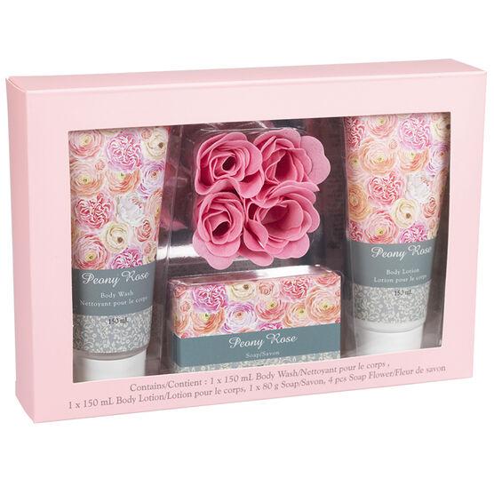 Peony Rose Bath Gift Set - 7 piece