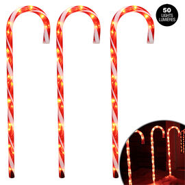 Danson Outdoor Illuminated Candy Cane Stakes - 3 pack