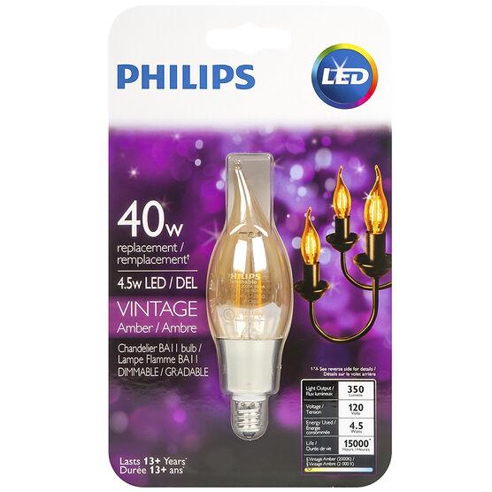 Philips BA11 LED Filament Bulb - Amber - 4.5w/40w