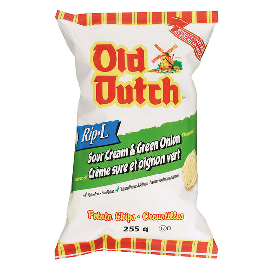 Old Dutch Rip-L Chips -  Sour Cream and Onion - 255g