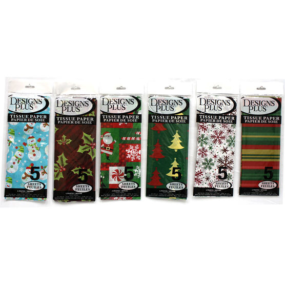 Designs Plus Printed Tissue Paper - Assorted - 5 pack