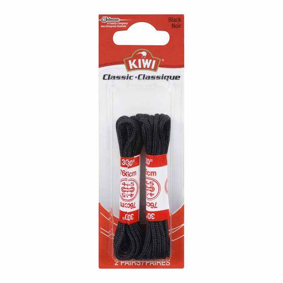 Kiwi Round Thin Laces - Black - 30 inch