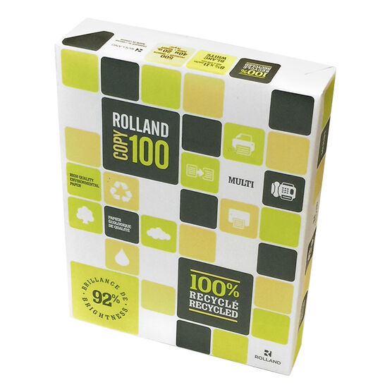Rolland Copy 100 Recycled Printer Copier Paper Case Pack - 3 x 500 Sheets - 92 Brightness - 20 Lb.