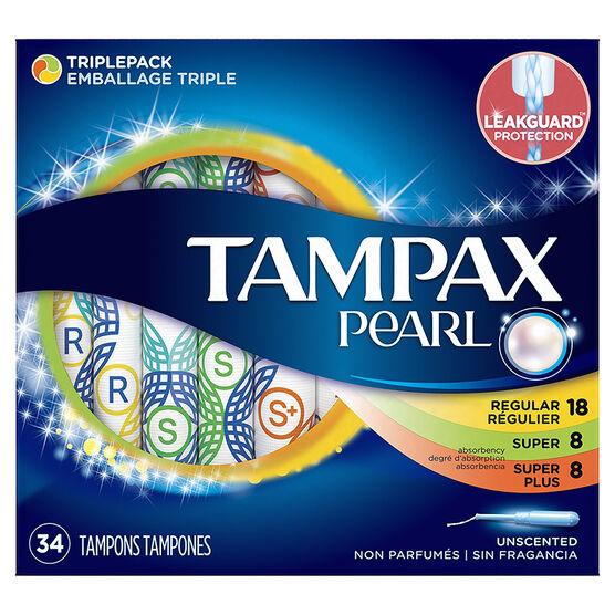 Tampax Pearl Tampons Triplepack - 18 Regular /8 Super/ 8 Super Plus