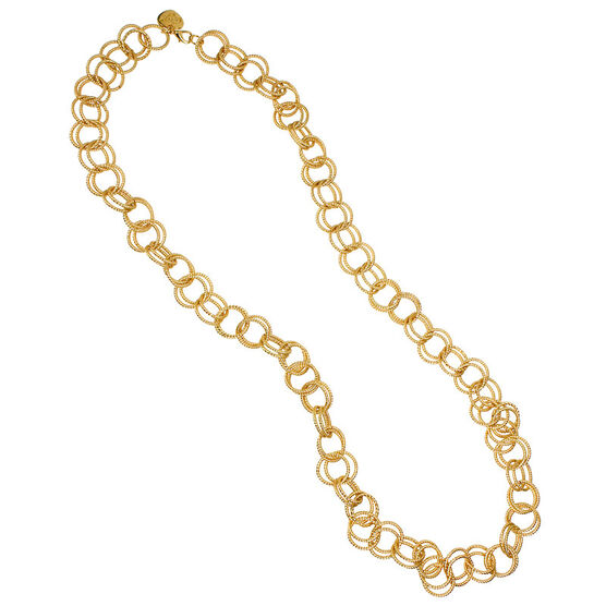 Betsey Johnson Circle Link Necklace - Gold Tone