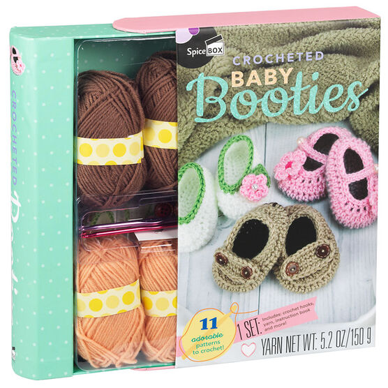 Spicebox Baby Booties Crochet Kit