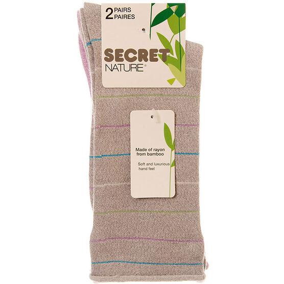 Secret Nature Ladies Stripe Roll Top Socks - Grey - 2 pair