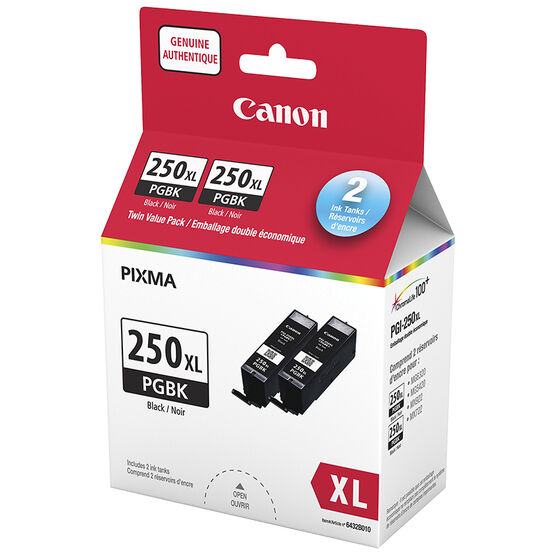 Canon PGI-250XL Twin Pack Ink Cartridges - Black - 6432B010