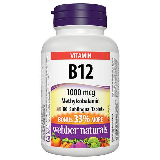 Webber Naturals B12 1000mcg Sublingual Methocobalamine - 60's