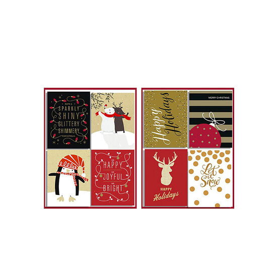 American Greetings Christmas Cards - Mini 4 Up Red, Gold, & Black - 20 count - Assorted