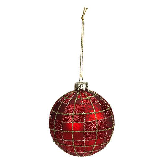 Christmas Tartan Matt Finish Ball Ornament - 8cm