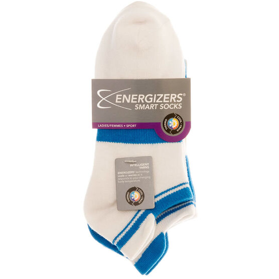 Energizers Ladies Low Cut Sport Socks - White/Blue - Sizes 9-11