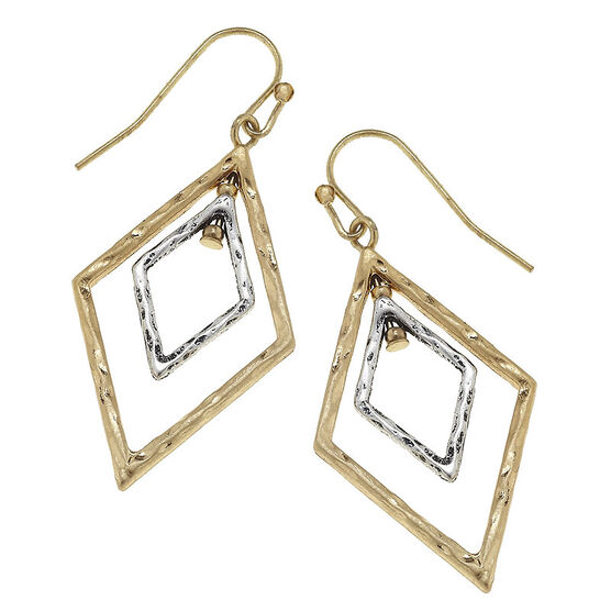 Canvas Geometric Diamond Earrings - Gold/Silver