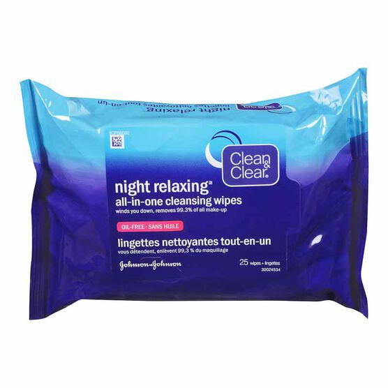 Clean & Clear Night Relaxing All-In-One Cleansing Wipes - 25's