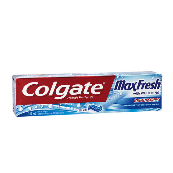 Colgate MaxFresh with Whitening Breath Strips Toothpaste - Cool Mint - 120ml