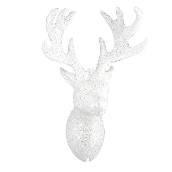 Polar Ice Reindeer Head Ornament - White - 5..5 x 4in