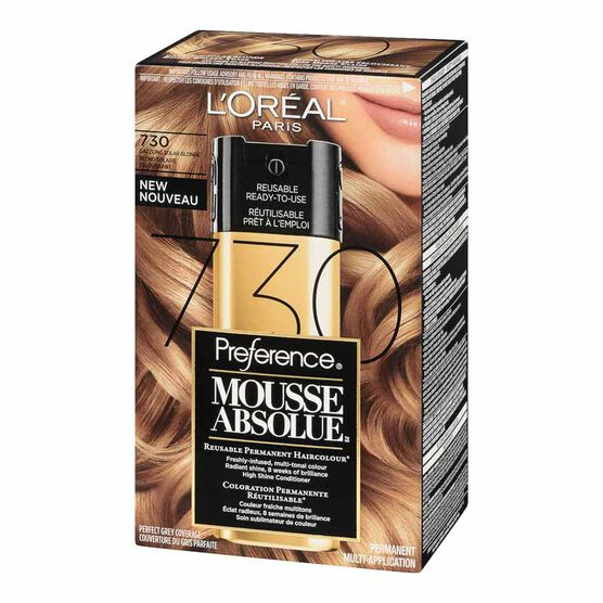 L'Oreal Preference Mousse Absolue Reusable Permanent Haircolour - 730 Dazzling Solar Blonde