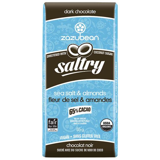 Zazubean Saltry Dark Chocolate Bar - Sea Salt and Almonds - 85g