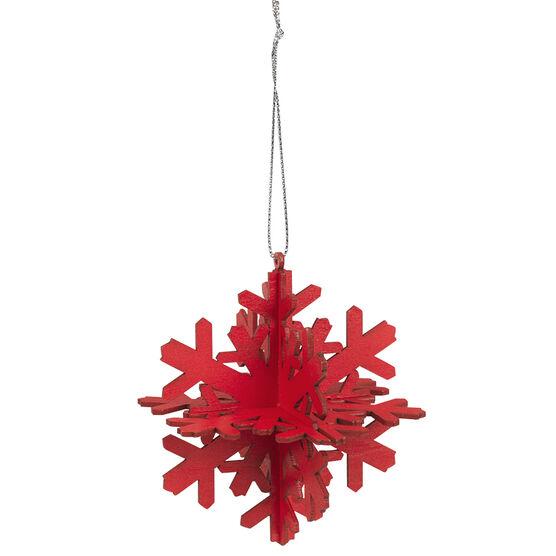 Wild Berries 3D Snowflake Ornament - Red - 9cm