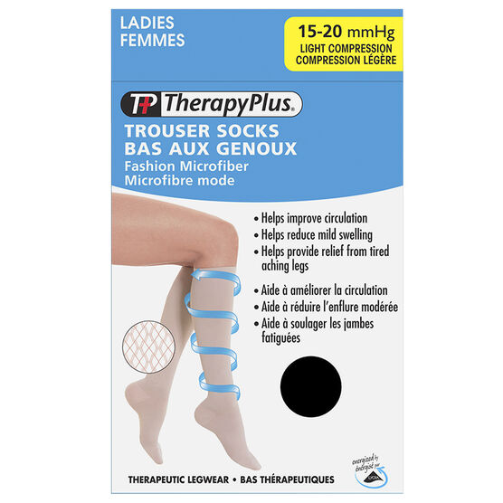 Therapy Plus Light Compression Ladies Fashion Microfiber Trouser Socks - Black - Large