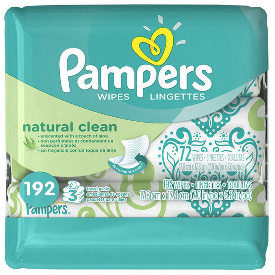 Pampers Wipes Natural Clean - 192's
