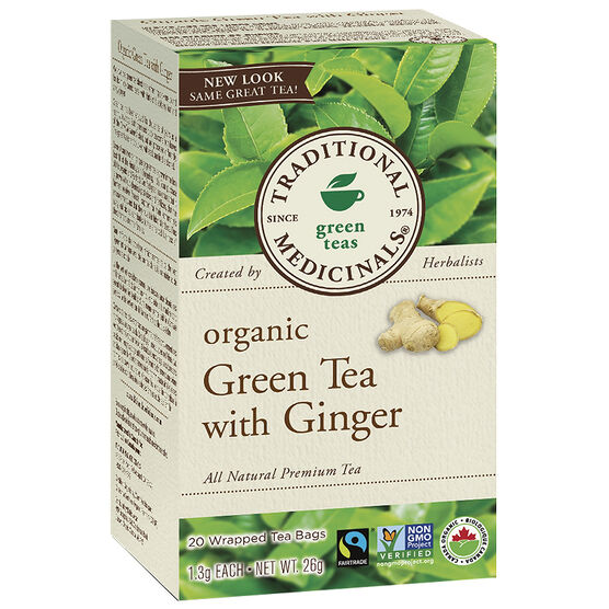 Traditional Medicinals Green Tea - Ginger - 20's