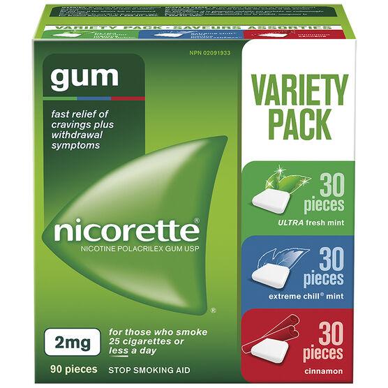 Nicorette Gum - Variety Pack with Cinnamon - 2mg - 90's
