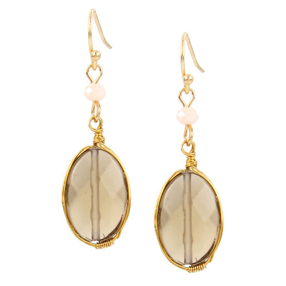 Haskell Drop Crystal Earrings - Gold