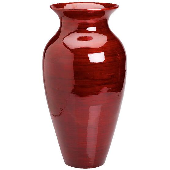 London Drugs Spun Bamboo Vase - Red - 27 x 52cm