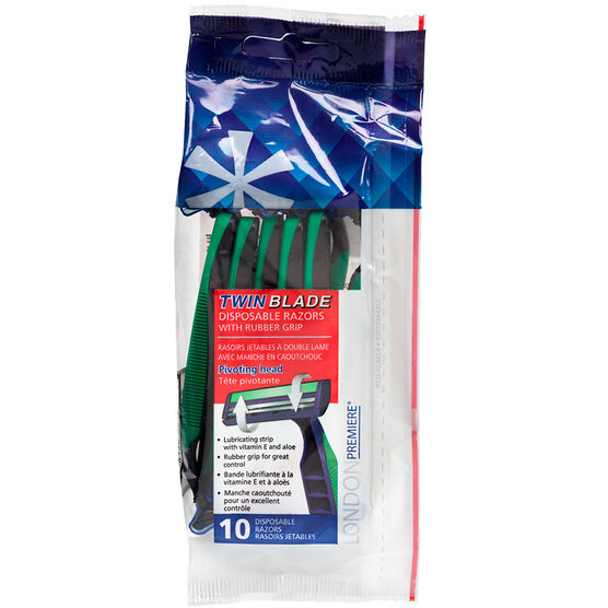 LONDON Premiere Twin Blade Disposable Razors with Rubber Grip - 10's