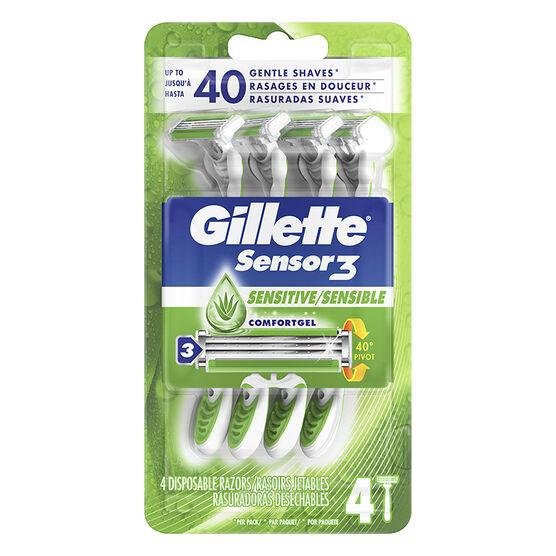 Gillette Sensor3 Disposable Razors - Sensitive - 4's