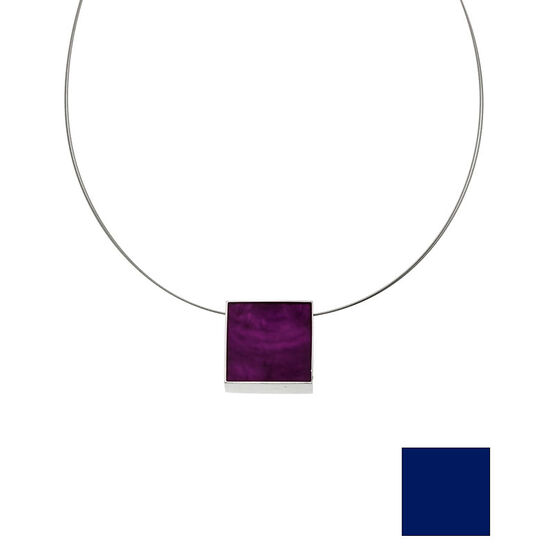 Merx Reversible Square Resin Shell Wire Necklace - Royal Blue/Purple