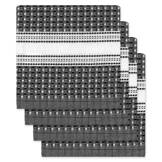 Kitchenworks Waffle Dish Cloths - Black - 4 pack