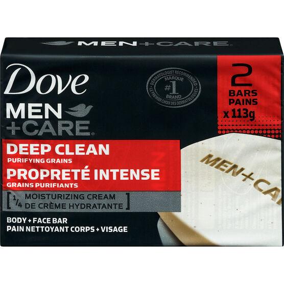 Dove Men +Care Deep Clean Purifying Grains Body & Face Bar - 2 x 113g