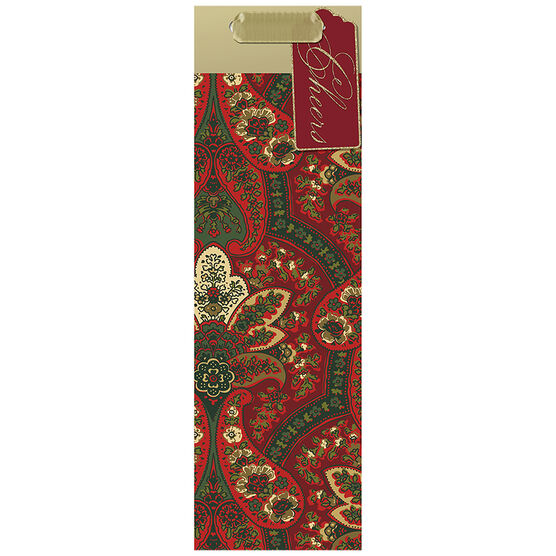 Hallmark Paisley Bottle Gift Bag - Elegant Reds - 0399XGB1293