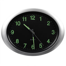 London Drugs Wall Clock - Silver/Black - Oval