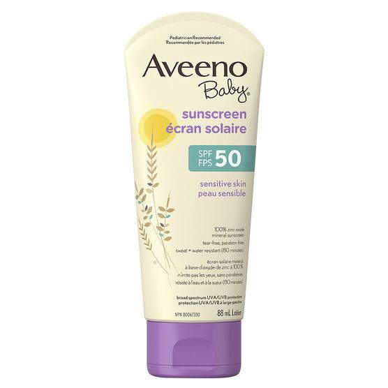 Aveeno Baby Sensitive Skin Sunscreen - SPF50 - 88ml