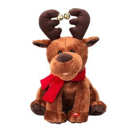 Animated Sitting Reindeer - 34cm