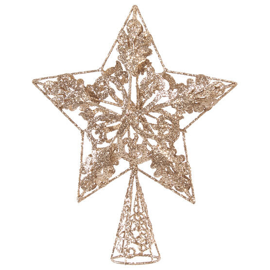 Winter Wishes Star Tree Topper - 10 in - Champagne & Silver