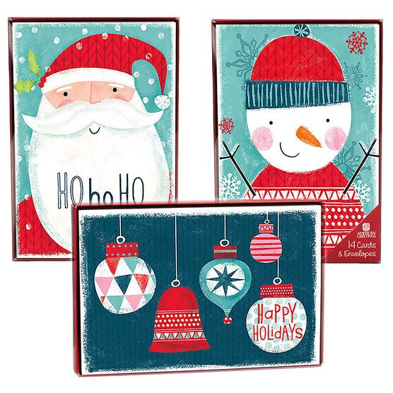 American Greetings Christmas Cards - Merry Blue - 14 count - Assorted