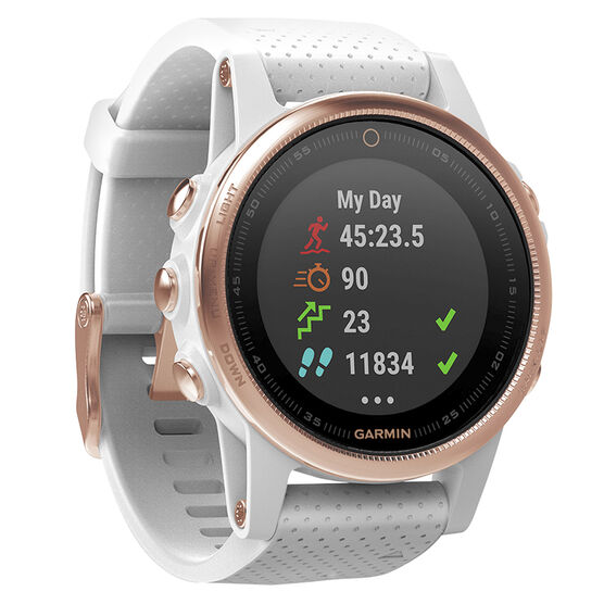 Garmin Fenix 5S Sapphire Watch - Rose Gold with White Band - 100168516